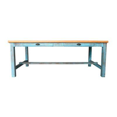 CUISINE Table en bois de style vintage avec faux tiroirs. Couleur de la structure personnalisable.