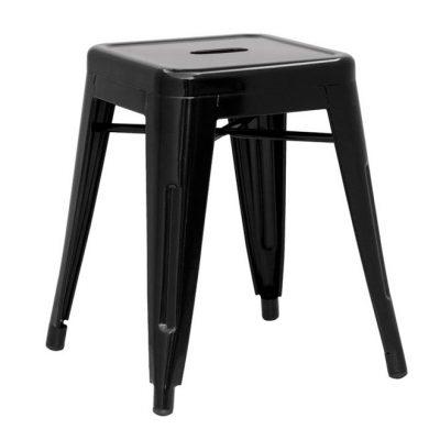 BEE BLACK Tabouret bas de style industriel, fabriqué en acier. Finition laqué noir brillant. Dimensions: 40x40x46cm.