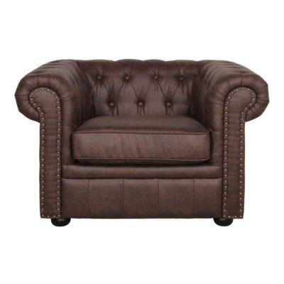 ARIZONA Fauteuil de style Chester fabriqué en peau synthétique avec effet cuir ancien. Lavable. Trouvez-le chez Mister Wils. Tables, chaises, canapés, tabourets, étagères, plantes artificielles…
