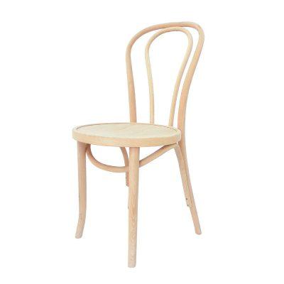 THONET UNPAINTED Chaise en bois de chêne naturel, style Thonet. Produit vendu brut, il nécessite un traitement par peinture ou par vernis.