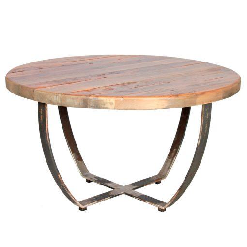 ISABELLA Table basse avec structure en fer et plateau en bois. Disponible en bois neuf effet vieilli et en bois ancien.