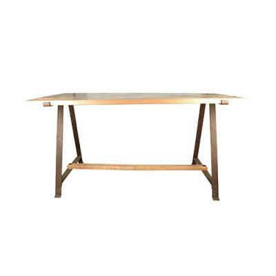 POTTER Table de style industriel, structure en acier, finition cuivré. plateau et traverse en bois. Produit fabriqué sur mesure, les dimensions et finitions sont personnalisables.
