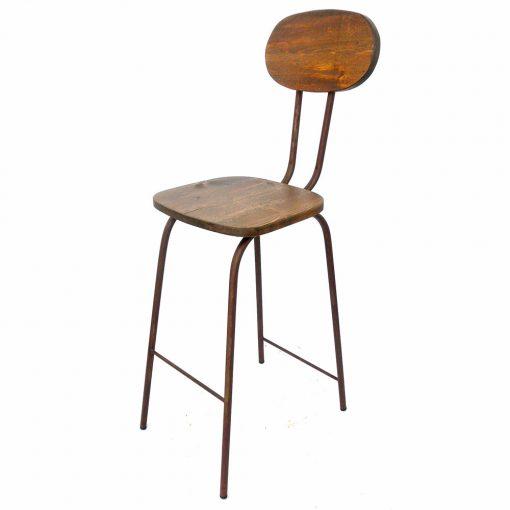 MARSELLA OXIDO Tabouret haut de style industriel avec structure en métal, finition cuivré, assise et dossier en bois de pin. Personnalisable