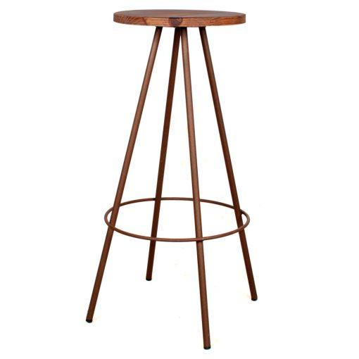WIRE OXIDO Tabouret de style industriel. Structure métallique avec assise en bois. Finition cuivré. Personnalisable avec supplément.