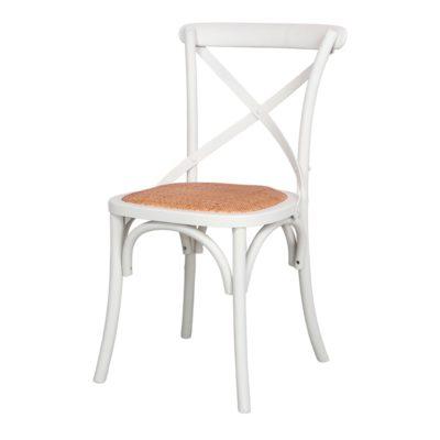 SASHA WHITE Chaise de style bistrot, structure en bois de hêtre, assise cousin en fibres naturelles. | Trouvez-la chez Mister Wils. Plus de 4000m² d'exposition. Buffets, étagères, luminaires, tables, chaises, canapés et banquettes, tabourets, ventilateurs, plantes artificielles...