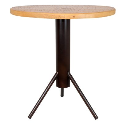 CANAVERAL Table de style industriel, structure en métal, plateau en bois. Disponible en bois ancien ou bois effet vieilli.