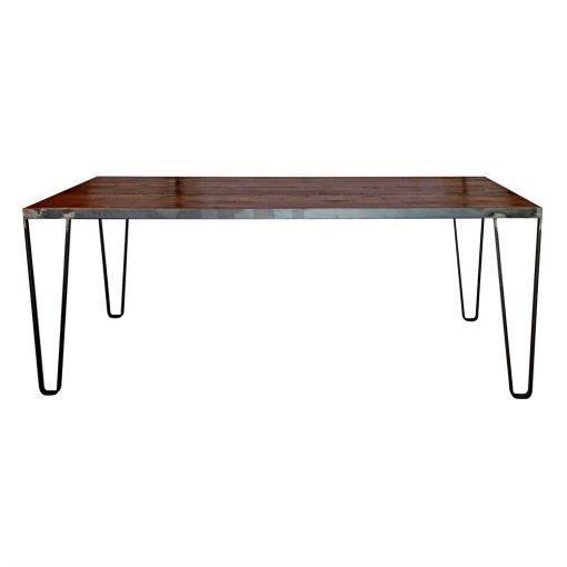 DALTON Table de style industriel, structure en acier, plateau en bois. Produit fabriqué sur mesure en Espagne, les dimensions et finitions sont personnalisables.