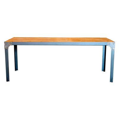 EIFFEL Table avec structure en fer, plateau en bois encastré. Disponible en bois ancien ou bois effet vieilli. Fabrication sur mesure.