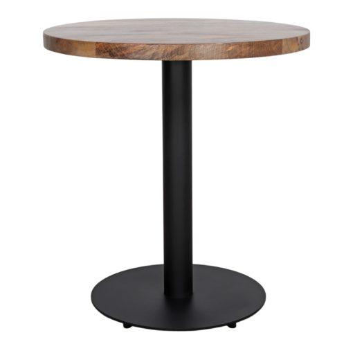 BREUER Table de style industriel, structure en tubes d'acier, plateau en bois. hauteur 75cm. Possibilité de fabrication sur mesure. Disponible en bois effet vieilli, ou bois ancien.