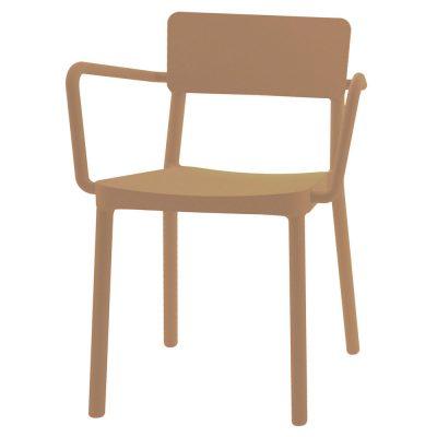 LISBOA ARMCHAIR Chaise pour usage intérieur ou extérieur, fibre de verre avec polypropylène via une technologie assistée par gaz. Empilable, protection anti-UV.