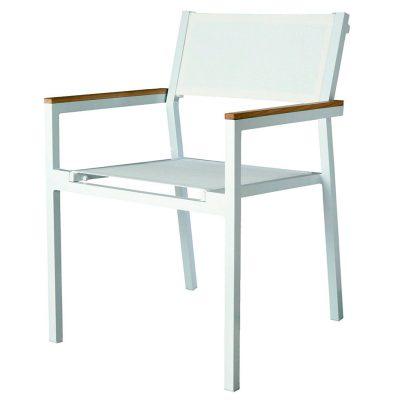 SHIO Chaise empilable pour l'extérieur. Structure en aluminium peint par pulvérisation en blanc. Assise et dossier en textilène blanc. Accoudoirs en boiserie ultratech. Coutures renforcées.