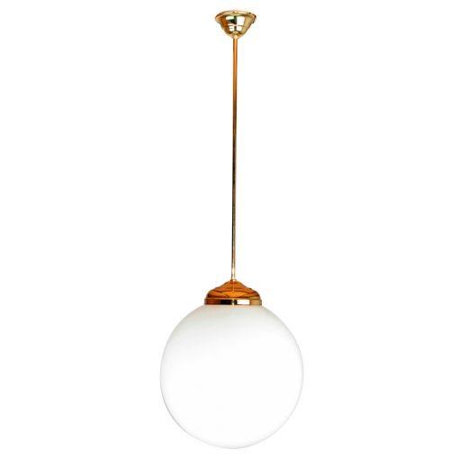 GRAND CAFÉ BIG Lampe de plafond de style vintage retro, structure en métal, finition laiton, globe sphérique en verre d'opale.Culot E27. Max 40W. Ampoule non incluse. Dimensions: Ø30x100cm.