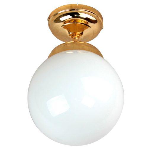 ALABAX Lampe de plafond de style rétro vintage, structure en métal, finition laiton, boule en verre d'opaline. Culot E27. Max 40W. Ampoule non incluse. Dimensions: Ø20x35cm.