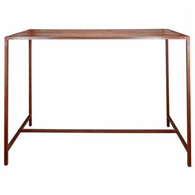 BOISSIERE Table auxiliaire de style industriel en acier et bois intégré à la structure. Possibilité de fabrication sur mesure. Disponible en bois ancien ou bois effet vieilli.