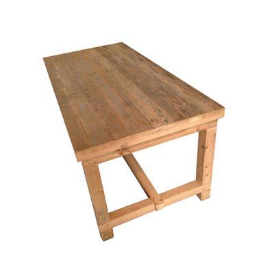JUNKER Table en bois, plateau de 7cm d'épaisseur. Fabrication sur mesure. Disponible en bois neuf effet vieilli, ou en bois ancien.