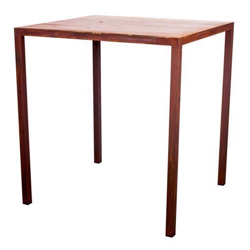 GOLDEN Table de style industriel, structure en tubes de fer de 3 cm, plateau en bois. Produit fabriqué par MisterWils, les dimensions et finitions sont personnalisables.