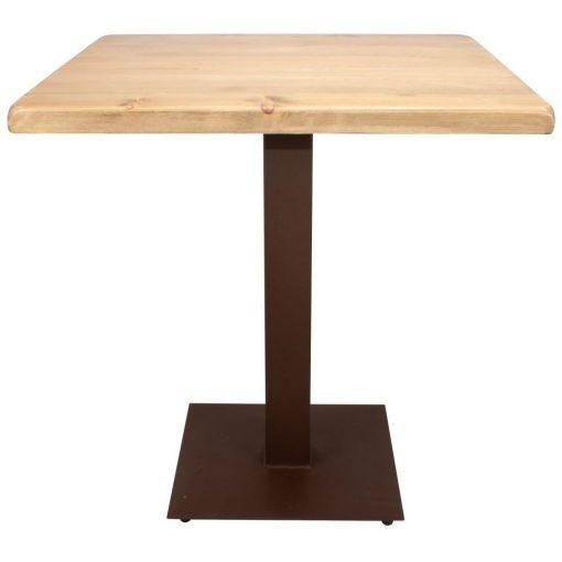 FERRO OXIDO Table de style industriel contract, avec pied en acier, finition cuivre. Plateau en bois. Disponible en bois ancien ou bois effet vieilli.