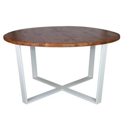 FOSTER Table de style industriel, structure en acier et plateau en bois. Fabrication sur mesure, finitions personnalisables. Fabriqué en Espagne.