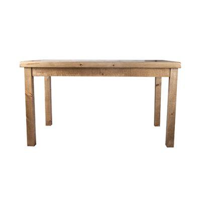 EDEL Table en bois avec plateau de 3.5cm d'épaisseur. Disponible en bois ancien ou bois effet vieilli. Fabrication sur mesure.