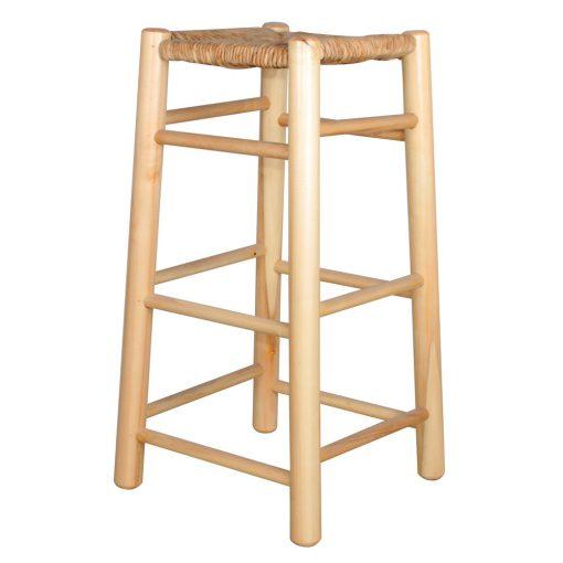 ALEXANDRIA NATURAL Tabouret haut de style rustique fabriqué en bois de peuplier, assise faite à la main en osier naturel.