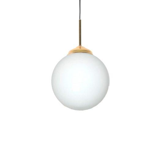 JERSEY OPALO 20 Lampe de plafond de style vintage/retro, structure en métal, finition laiton, sphère en verre d'opale. Culot E27. Max 40W. Ampoule non incluse. Dimensions: Ø20cm. Cable de 1,50m.