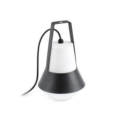 CAT BLACK Lampe de style moderne, idéal pour l'éclairage extérieur. En aluminium avec diffuseur en PEMD. Culot E27. Max 20W. Dimensions: Ø20x32cm.