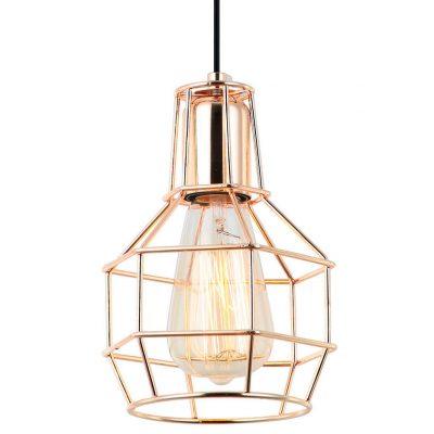 MACY Lampe de style industriel, type cage. Structure en métal, finition laiton. Culot E27 MAX 60W. Dimensions: Ø14x15 cm.