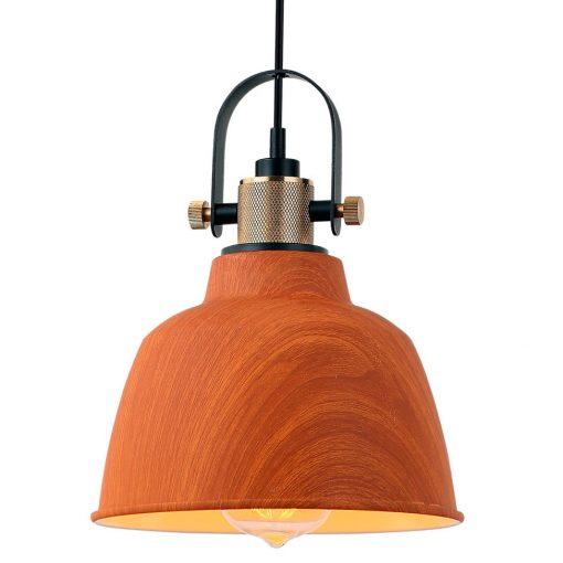 BREXIT Lampe de plafond de style scandinave, tulipe en bois, intérieur en laiton. Culot E27 MAX 60W. Dimensions: Ø20x15 cm.