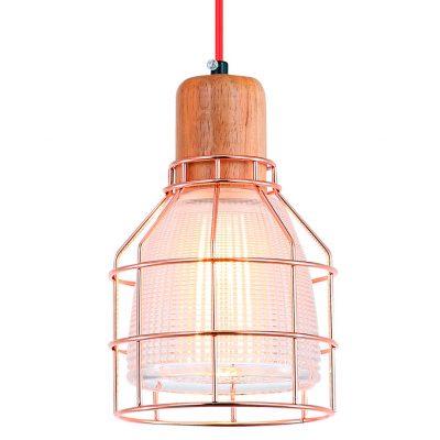 PANAMA Lampe de style scandinave/industriel, en bois et métal, finition cuivre et verre taillé.Culot E27 MAX 60W. Dimensions: Ø15,5x15 cm.