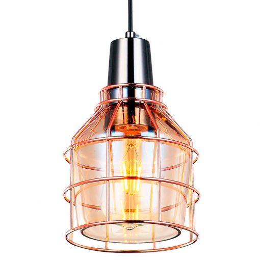 MATRIX Lampe de style industriel, fabriquée en métal, culot en chrome noir, structure en bronze et verre ambre. E27 MAX 60W. Dimensions: Ø15,5x15 cm.