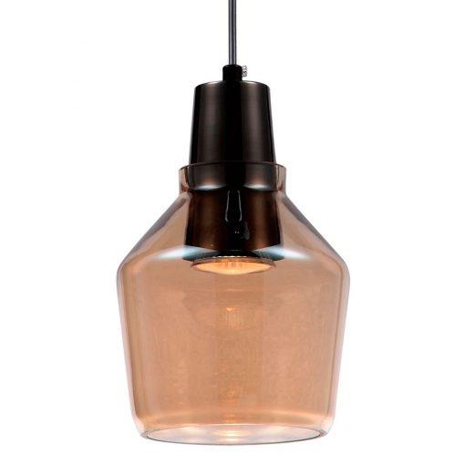 PINCH Lampe de style rétro, chrome et verre d'ambre. GU10 MAX 50W. Dimensions: Ø13,5x15 cm.