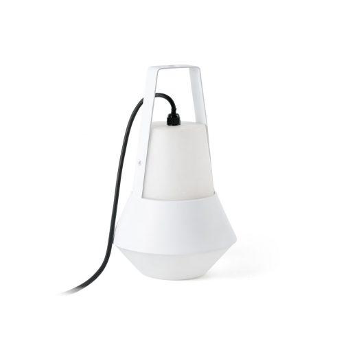 CAT WHITE Lampe de style moderne, idéal pour l'éclairage extérieur. En aluminium avec diffuseur en PEMD. Culot E27. Max 20W. Dimensions: Ø20x32cm.