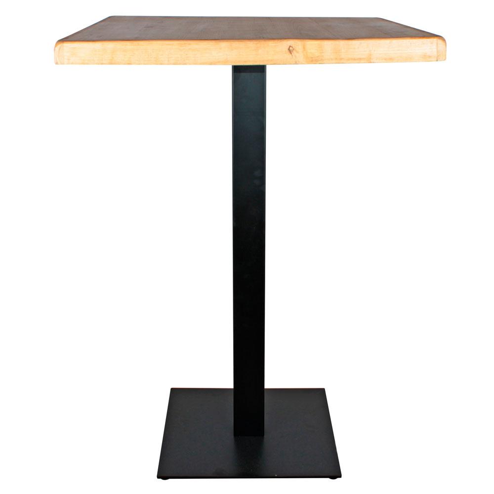 TAPIES BIG Table de style industriel avec pied en métal, plateau en bois. Finition peinture noire powder coated. Dimensions: base du pied 45x45cm.