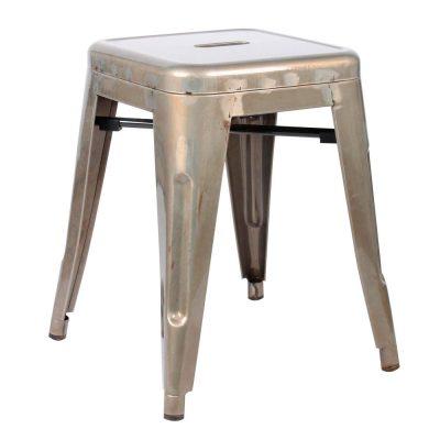 BEE BARNIZ Tabouret bas de style industriel, fabriqué en acier. Finition vernis. Dimensions: 40x40x46cm.