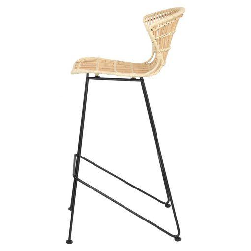 DAISY Tabouret de style scandinave, structure métallique laquée noir, assise en rotin naturel. Non adapté pour l'extérieur.