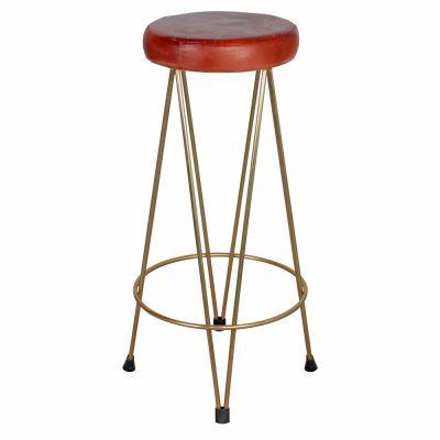 PIGALLE ZINCADO Tabouret haut en métal, style industriel, finition zinc, assise en cuir (la couleur peut varier légèrement par rapport à la photo).