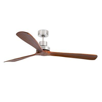 LANTAU G Ventilateur de plafond de style vintage, moteur en acier et lames en bois de noyer sombre.