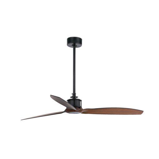 JUST FAN Ventilateur de plafond de style industriel, fabriqué en métal avec lames en bois. Pour une pièce de 13 à 17m².