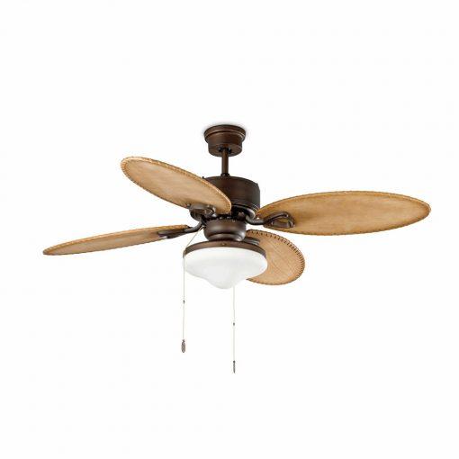 LOMBOK Ventilateur de plafond avec lumière, style vintage. Moteur fabriqué en acier, lames en bois, finition pin rustique, diffuseur en verre.