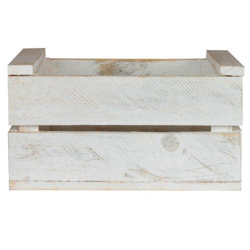 BONGO WHITE Caisse en bois de pin peinte en blanc, effet ancien. Dimensions: 32x25x17 cm.
