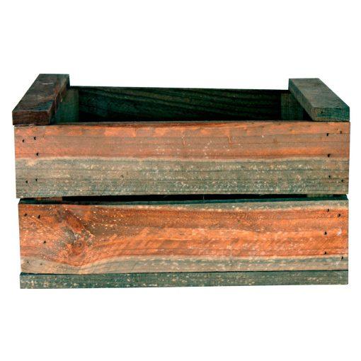 BONGO OLD Caisse en bois de pin, peinture effet ancien Dimensions: 32x25x17 cm.