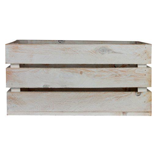 GABY WHITE Caisse en bois de pin naturel, peinte en blanc effet ancien. Dimensions: 50x32x25 cm.