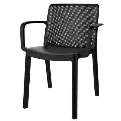 FRESH ARMCHAIR Chaise avec accoudoirs pour usage intérieur ou extérieur. En polypropylène, traitement anti-UV, empilable.