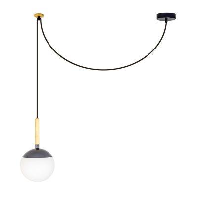 MINE GREY Lampe de plafond de style scandinave, structure en bois et verre d'opale. Culot E27. Max 40W. Dimensions: Ø18,5x35 cm