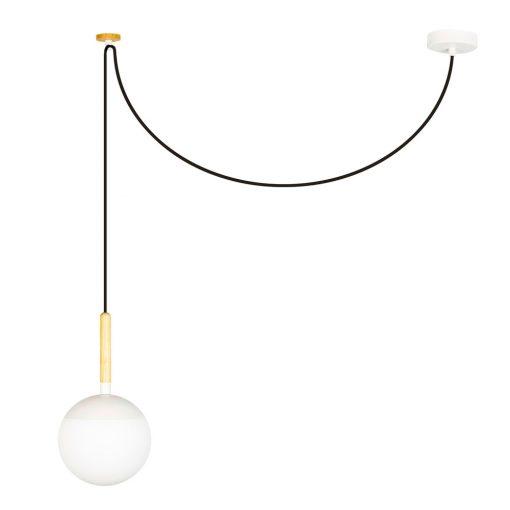 MINE WHITE Lampe de plafond de style scandinave, structure en bois et verre d'opale. Culot E27. Max 40W. Dimensions: Ø18,5x35 cm