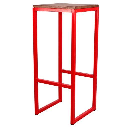 TOWN RED Tabouret haut de style vintage, structure en fer avec repose-pieds, assise en bois. Personnalisable avec un supplément.