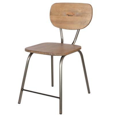KITCHEN BARNIZ Chaise de style industriel, structure en métal, finition vernis incolore, assise et dossier en bois de pin. Personnalisable avec un supplément.