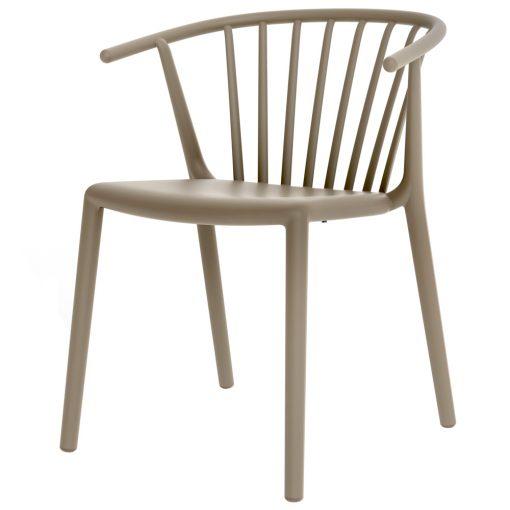 WOODY Chaise avec accoudoirs, pour un usage intérieur ou extérieur, en fibre de verre et polypropylène. Empilable, protection UV.