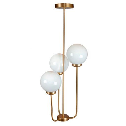 BISHOP Lampe de style vintage/retro avec trois bras et sphères en verre d'opale. Dimensions: Ø40x80 cm. Sphères Ø15 cm.