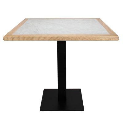 DAVOX Table de style vintage, pieds en acier, plateau en marbre blanc, contour bois de chataignier. Fabrication sur mesure.
